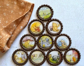 Winnie The Pooh Bottlecap Magnets- Strong Bottlecap Magnets- Eeyore, Piglet, Tigger, Christopher Robin- Pooh Bear Magnets- Baby Shower Gift