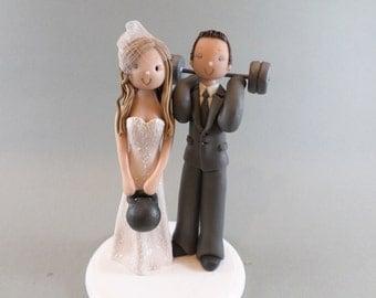 Wedding Cake Topper - Custom Made  Bride & Groom Weightlifters