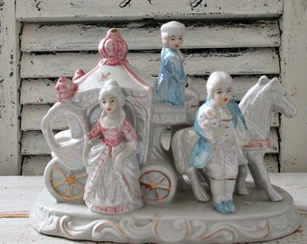 Vintage Porcelain Victorian Horse and Carriage Figurine