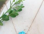 Guatemalan Turquoise Minimalist Copper Strand Necklace || Gemstone Jewelry || Crystal Rose Gold Necklace || Simple Turquoise Necklace