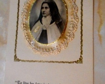Gorgeous VINTAGE NUN RELIC St Therese Little Flower with medallion convent seal