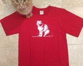 SALE, Half Price, red, youth large, Abby Cat tee, Back to School