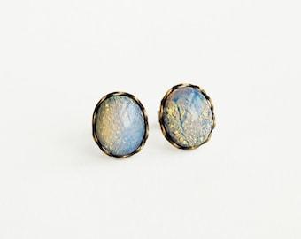 Blue Opal Stud Earrings Rare Vintage Glass Harlequin Fire Opal Post Earrings Hypoallergenic Studs