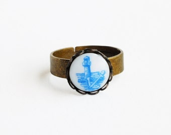 Anchor Ring Nautical Jewelry Vintage Blue Delft Cameo Ring Lighthouse Small Blue Glass Ring Lighthouse Jewelry