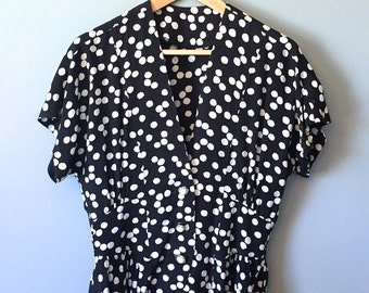 Black and White Polka Dot Patterned Top