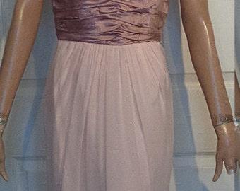 Vintage Pink Chiffon Party Dress Matching Sweater Taffeta Trim
