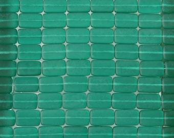 15x10mm Matte Transparent Emerald Czech Glass Rectangle Beads - Qty 20 (BS422)