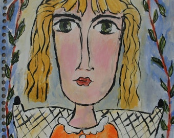 Bright Eyes original watercolor painting by Joan Princing Art Picasso Inspired