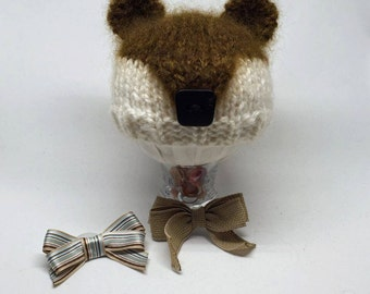 """Handknit Baby Bear Beanie with Two """"Girlie Up"""" Removable Clippies- Newborn Photography Prop"""