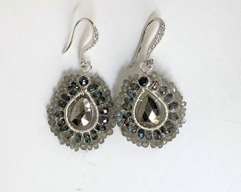 Mystic Topaz Wire Wrap Hoop Earrings Gunmetal Pyrite Mystic Labradorite Coiled Earrings Sterling Silver