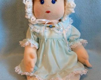 Handmade Doll in Soft Velour Fabric, Light Blue Cotton Fabric Handmade Outfit, Crochet Bonnet, Crochet Booties, OOAK, Stuffed Doll