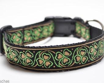 Shamrock Dog Collar in Gold and Lime / Luck of the Irish in Gold / Custom Dog Collar