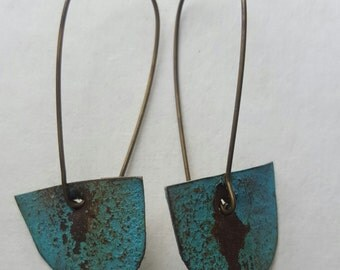 Turquoise reclaimed tin earrings