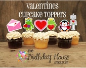 Valentines Day - Set of 12 Assorted Valentines Cupcake Toppers by The Birthday House