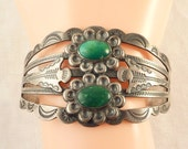 Large Antique 1920s Fred Harvey Silver Production Tourist Coin Silver and Green Turquoise Cuff Bracelet