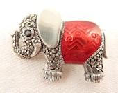 Vintage Sterling Marcasite and Red Enamel Deco Elephant Brooch
