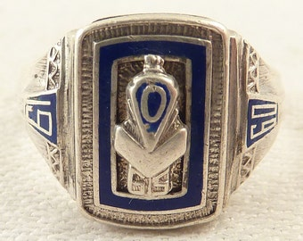 Size 6.5 Vintage Sterling and Blue Enamel 1960 Class Ring