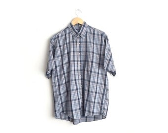 Size L // SALE // PLAID SHIRT // Short Sleeve Button-Up Oxford - Blue & Grey - Vintage '90s.