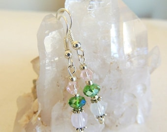 Color Changing Earrings, UV Jewelry, Pink and Green, Handcrafted Jewelry, Dangle Earrings, UV Reactive, Crystal Jewelry