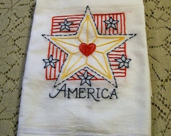 Dish Towel with Hand Embroidery, Red White and Blue, Kitchen Towel, 4th of July Towel, Kitchen Dish Towel, Retro Kitchen