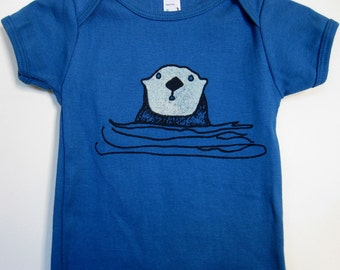 Organic Cotton Bodysuit Babies or T shirt for Kids Cute Otter in Blue