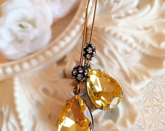 Buttercup Yellow Earrings - Best Bridesmaid Gifts - Crystal Earrings - Bridesmaid Earrings - COVET Buttercup