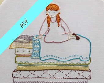 Princess and the Pea PDF Embroidery Sampler