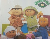 Cabbage Patch Kids Baby Doll Cloths Pattern Butterick 3932 Cabbage Patch Overalls Shirt Shorts Pants and Doll Hat Uncut