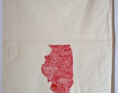 Illinois Tea towel, screen printed state of Illinois, cotton tea towel