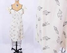 1970s dress vintage 70s cream fashion illustration novelty print dress S