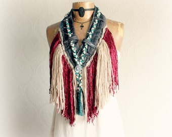 Tribal Fringe Scarf Shabby Shaggy Bohemian Festival Coachella Jewelry Denim Necklace Native American Tassel Scarf Upcycled Fashion 'TRICIA'