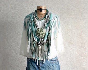 Shabby Chic Aqua Infinity Scarf Tassel Fringe Romantic Clothing Upcycled Clothes Boho Hippie Festival Jewelry Wearable Art Green Rose STELLA