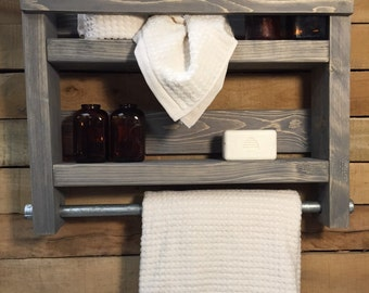 Bathroom Towel Rack Wood Shelf Industrial Decor