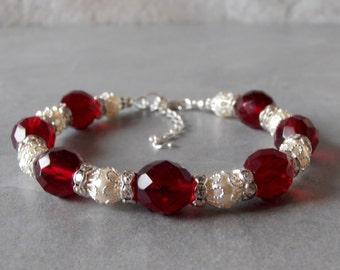 Dark Red Bracelet Dressy Holiday Jewelry