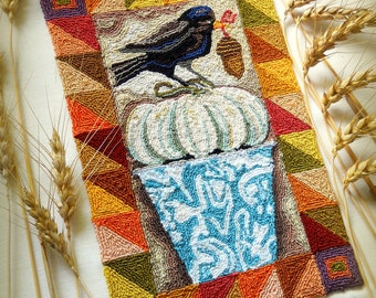 Harvest Crow White Pumpkin Vintage Enamelware Punch Needle Embroidery DIGITAL Jpeg and PDF PATTERN Michelle Palmer Painting with Threads