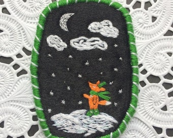 Brooch - Foxes also look to the sky, hand embroidered winter textile jewelry with little fox