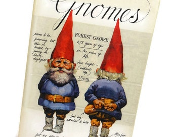 1977 Vintage GNOMES Book Hardcover Trolls Forest Elves Goblin Woodland Animals Dust Jacket Fantasy Reference Collectible PeachyChicBoutique