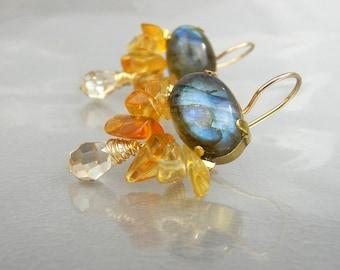 Labradorite Earrings, Labradrite Cluster Bee Earrings, Citrine Labradorite Earrings, Dangle Earrings, Statement Earrings, Gift for Women