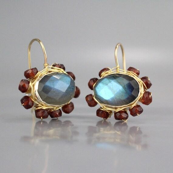 Garnet Jewelry, Garnet Earrings, Labradorite Earrings, Garnet Labradorite Mandala Earrings, January Birthstone, Red Garnet Gemstone, Gifts