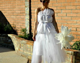Tulle Skirt-Tulle Wedding Skirt-Tulle Wedding Dress-Long Tulle Skirt-Tina Tissue Linen Layered Tulle Modern Bride Chic