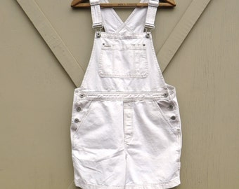 90s vintage Gap Off-White Khaki Cotton Short Bib Overalls