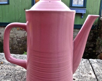 Mid Century Stoneware Pink Coffee Pot Server