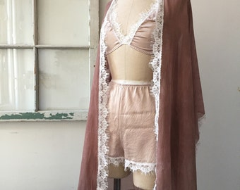 Spring Fling Honeymoon High Waisted Mauve Silk Charmeuse Tap Shorts
