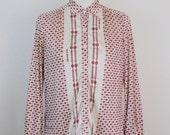 Vintage Celine Button-Down Silk Shirt Size Medium | 1980s • Red White Equestrian Horse Bit Print Blouse Top