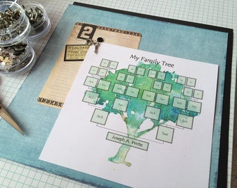 Family Tree- Digital Download Template- painted tree