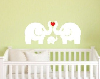 Elephant wall decals, Nursery wall decals, Baby elephant with heart, elephant family, zoo animal wall decals, elephant family vinyl stickers