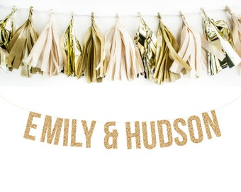 Custom Wedding Garland. Engagement Garland. Wedding Decor. Custom Wedding Decoration. Glitter Garland