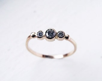 14K Gold Diamond Engagment Ring, Three Gemstone Diamond Engagement Ring, Between You and Me Engagement Ring