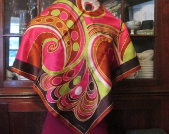 Silk Scarf Abstract Gypsy Shawl Designer Signed Mod Hand Rolled Wrap Vintage Liz Claiborne Silk Scarf Large Square Neutral Brown Beige Wine