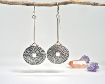 Sterling Silver Dangle Earrings in Floral Pattern, Silver Discs with 14kt Gold, Rustic, Elegant
